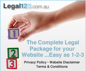 legal123.com.au - TheComplete legal package for your website. Easy as 1,2,3. Privacy policy, website disclaimer, terms and conditions